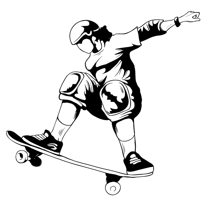 young skateboarder black and white vector